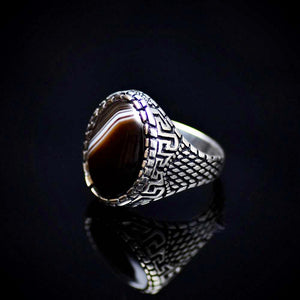 Traditional Turkish Silver Ring For Men With Banded Agate Stone Right