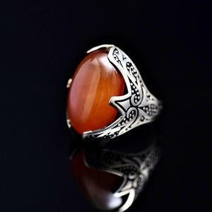 Tribal Motifs Engraved Silver Ring Adorned With A Big Agate Stone Right