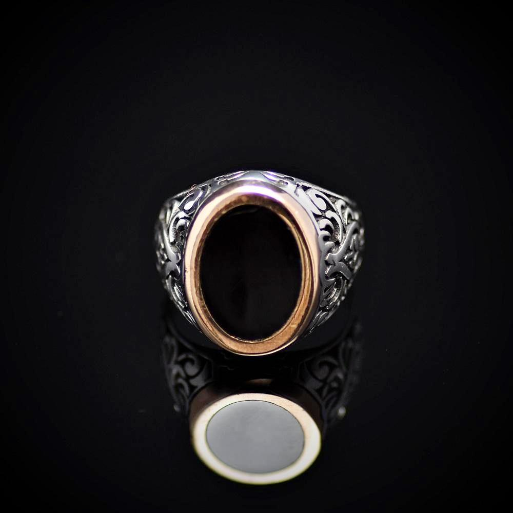 Turkish Artisanal Silver Ring Adorned With Black Enamel Front