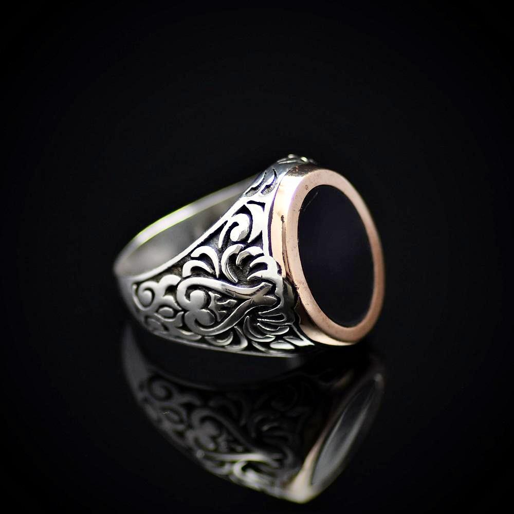 Turkish Artisanal Silver Ring Adorned With Black Enamel Left