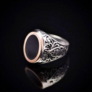 Turkish Artisanal Silver Ring Adorned With Black Enamel Right