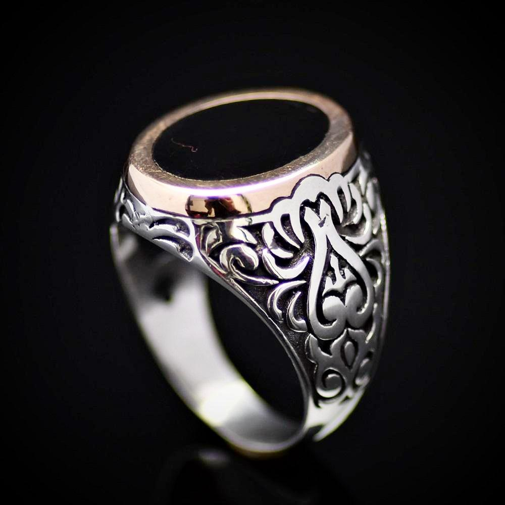 Turkish Artisanal Silver Ring Adorned With Black Enamel