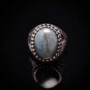 Turkish Ottoman Design Silver Ring Adorned With Green Agate Stone Front