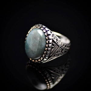 Turkish Ottoman Design Silver Ring Adorned With Green Agate Stone Right