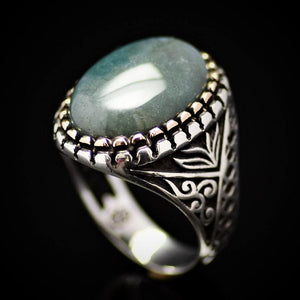 Turkish Ottoman Design Silver Ring Adorned With Green Agate Stone