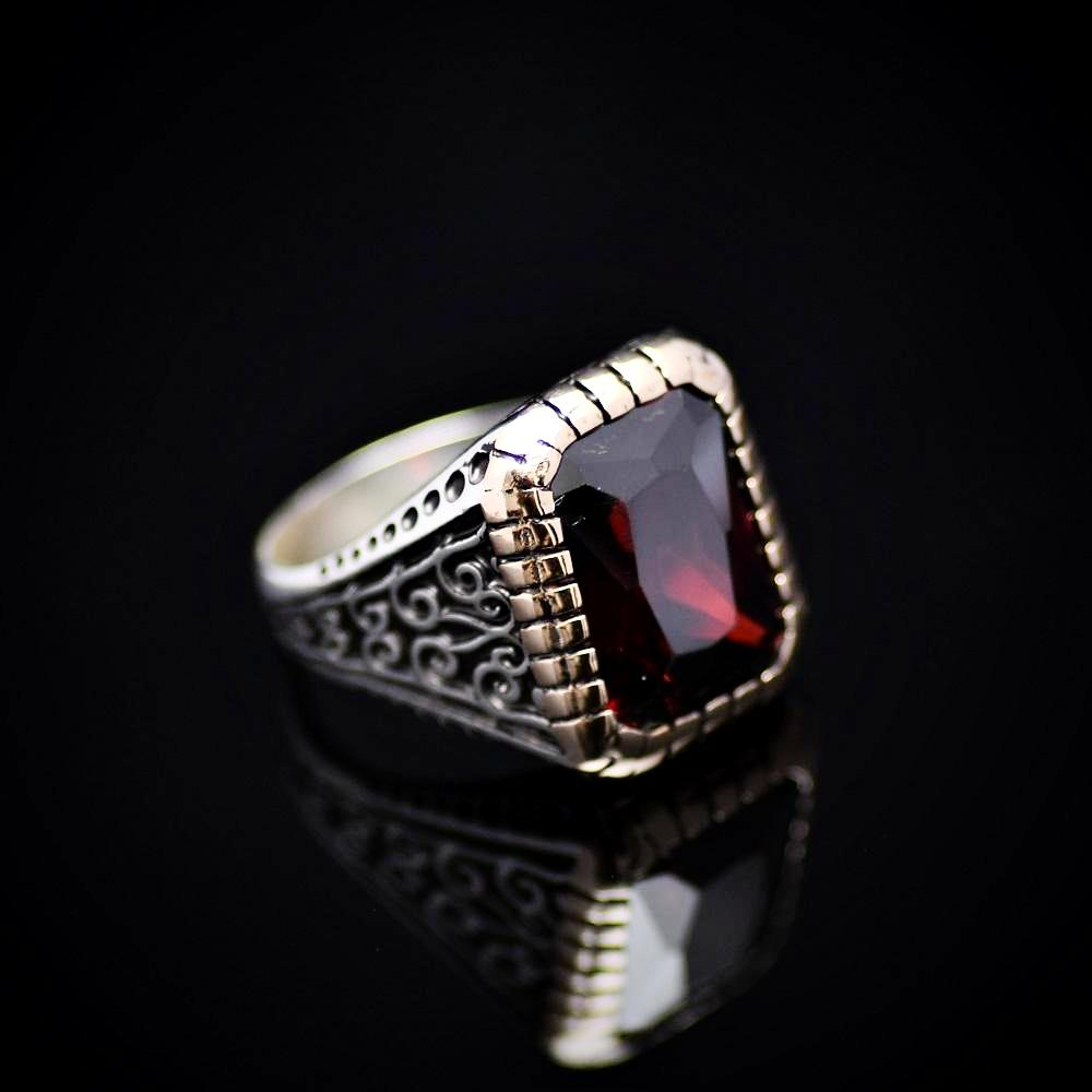 Turkish Silver Ring Adorned With Zircon Stone Left