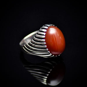 Unique 925 Sterling Silver Ring Adorned With Red Agate Stone Left
