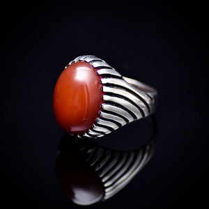 Unique 925 Sterling Silver Ring Adorned With Red Agate Stone Right