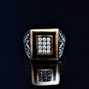 Zulfikar Signet Ring Adorned With Zirconia Stones Front
