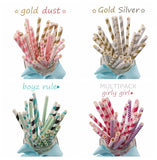FENGRISE 125pcs Paper Drinking Straws Birthday Party Decoration Kids Silver Gold Straw Wedding Favors Halloween Party Supplies