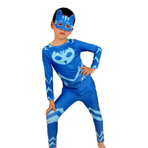 2017 New PJ Mask Birthdays Cosplay Costume Kids Second Skin Tight Suit Spandex Kids Catboy Owlette Gekko Cape Halloween Costume