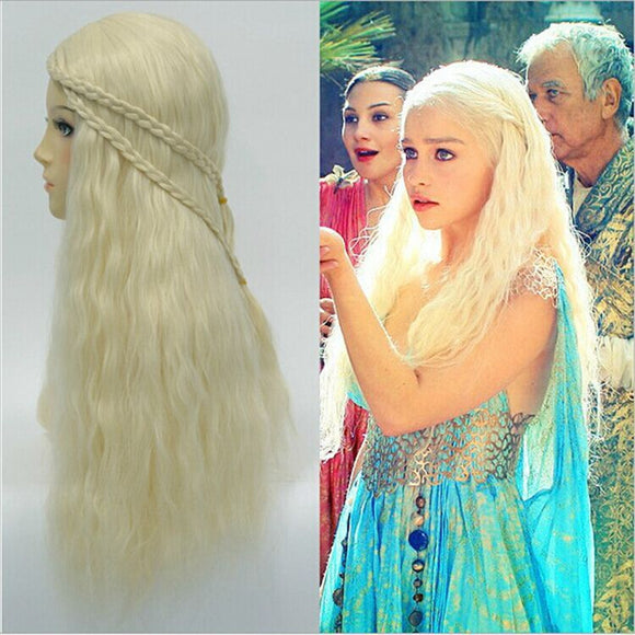 TV Game of Thrones Season 7 Daenerys Targaryen Cosplay Wig For Women Halloween Play Wig Party Stage Hair 2017 New High quality