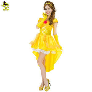 2017 Hot Sale Movie Beauty And The Beast Costume Adults Women Sassy Belle Princess Wild Beast Prince Costume
