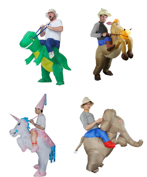 2017 Adult Ride Costume Party Dresses Animal Inflatable Dinosaur Unicorn Cowboy Costumes Halloween Costume for Women