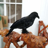 2pcs Realistic Looking Halloween Decoration Birds Black Feathered Crows Halloween Prop Decor