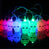 Hanging Halloween Pumpkin Lantern 3D Plastic Skull String Light 16 LED Orange Pumpkin Lights Halloween Holiday Decor C