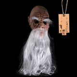 H&D Scary Old Man Mask with Long White Beard Adult Funny Halloween Costume Fancy Dress