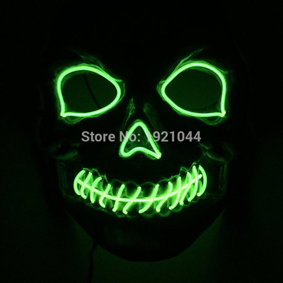 2017 New arrival 10 colors select Dance  DJ  LED Flashing Mask EL Wire LED Mask Halloween Glowing lights