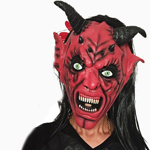 Top Grand New 2017 Halloween Horror Masks Scary Mask Halloween Toothy Zombie With Long Hair Devil Ghost Mask A31