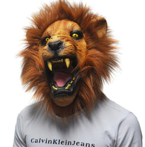 New 2017 Halloween Angry Lion Head Masks Animal For Adults Full Latex Masquerade Birthday Party Rubber Silicone Face Mask