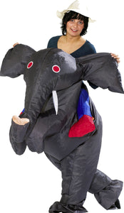 Halloween Adult Inflatable Air Blown Elephant Rider Costume Jungle Explorer Outfit