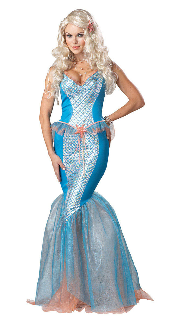 Mermaid Adult Costume High Quality Hot Popular Sea Siren Mermaid Costume 3S1442 Free Shipping adult fish costume Halloween