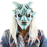 Masquerade Halloween Costume Party Masks Scary Funny Silver Horn King Ghost Mask with Long Wig Haunted House for Halloween