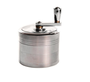 BFlowerYan Tobacco Spice Grinder Herb Weed Grinder with Mill Handle 4 Layers 2.5 Inches Zinc Alloy