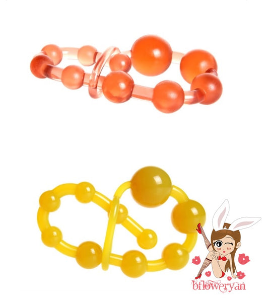 BFlowerYan Soft Flexible Jelly 10 Bead Vaginal and Anal Beads - Sex Toy for Women & Men (Random Color)