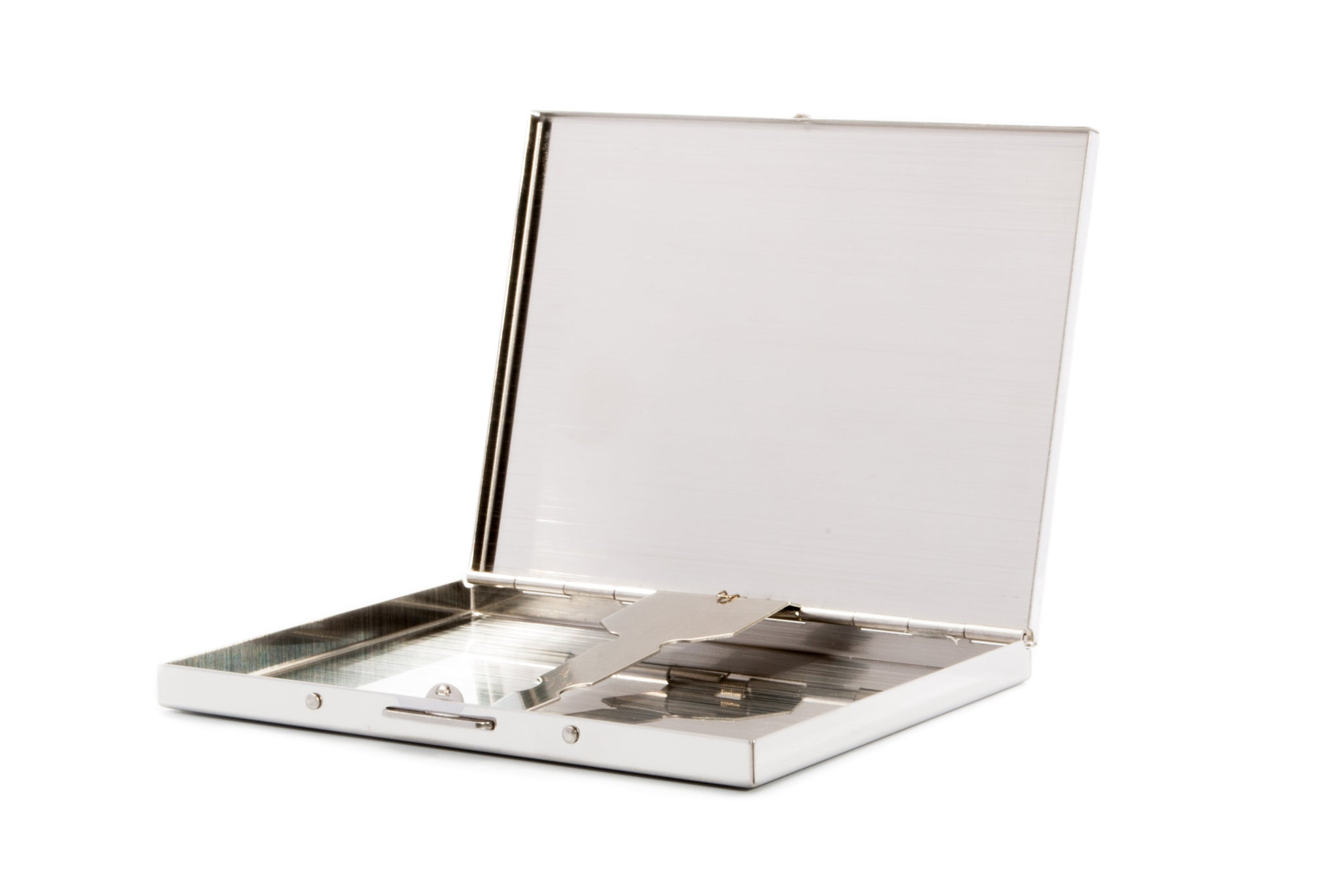 BFlowerYan Silver Stainless Steel Extra Slim Cigarette Case