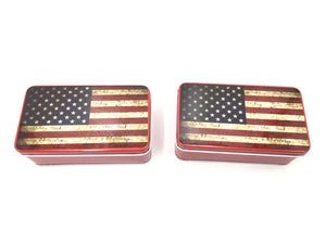 BFlowerYan Pack of 2 USA Flag American Patriotic Metal Storage Tin Box, 4.5 x 2.5 x 1.5 Inch