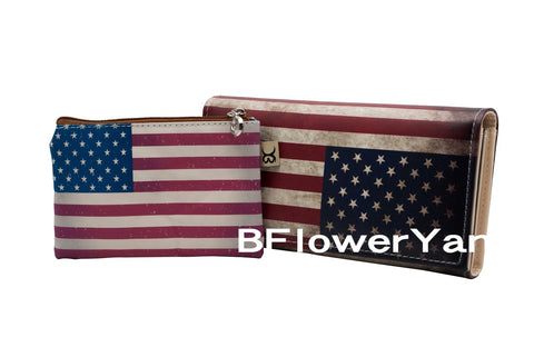 BFlowerYan COMBO Patriotic American Flag Print Long Wallet Card Holder Clutch Purse