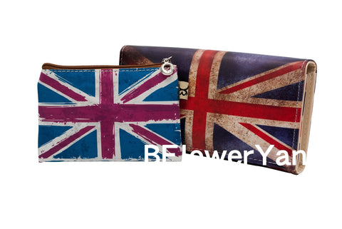 BFlowerYan COMBO United Kingdom Union Jack Flag Print Long Wallet Card Holder Clutch Purse