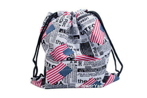 BFlowerYan Patriotic American Flag USA Drawstring Backpack Bag, 12 X 14 inches