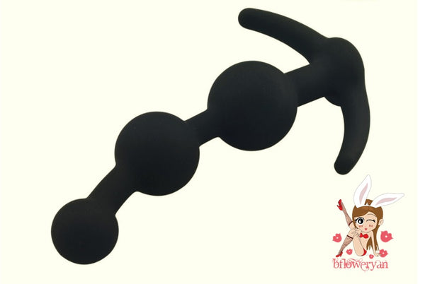 BFlowerYan Silicone Anal Plug with Anal Bead in Black