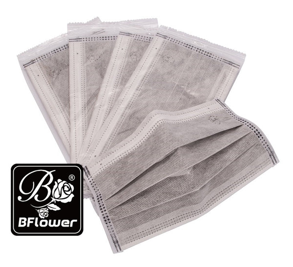 BFlower Four Layer Disposable Charcoal Activated Carbon Mask Filter -100 Pieces (Each Piece Is Individually Packed)