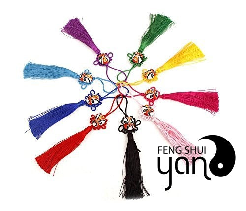 FengShuiYan Pack of 5 Chinese Culture Style Peking Opera Chinese Knots Unique Chinese Knot Facebook Pendant for Home/Bag/Car/Phone/iPad Decoration,symbolizing Happiness, Good Luck Knot