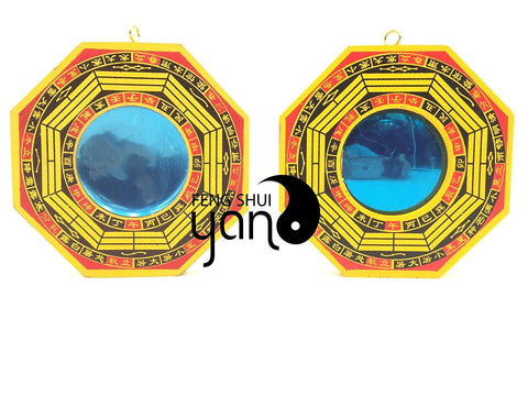 FengShuiYan 4 Inch Bagua Mirror Set of 2 for Protection; One Concave Mirror for protection against passive negative energy & One Convex Mirror for protection against active harmful energy