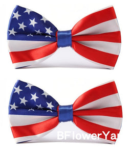 BFlowerYan Pack of 2 Patriotic American Flag USA Pre-tied Adjustable Bow Tie