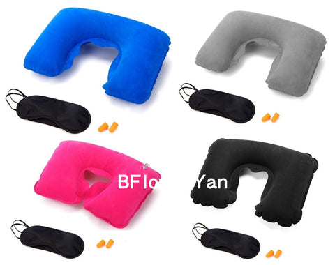 BFlowerYan Pack of 4 (3 In 1) Travel Set Flocking Inflatable U-shaped Neck Pillow, Silk Blindfold Mask & Soft Foam Ear Plug for Airplane or Commute Transportation