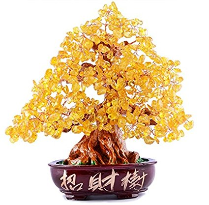 "FengShuiYan 9.5"" Quartz Gem Stone Money Tree Natural Crystal Wealth Lucky Money Tree Office Living Room Great Housewarming Health Healing Gift & Home Good Luck Decoration"