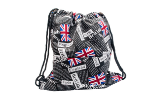 BFlowerYan The Union Jack Design Patriotic Canvas Drawstring Backpack Bag, 33 x 37 cm
