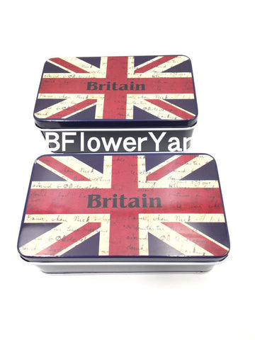 BFlowerYan Pack of 2 'Brit Box' The Union Jack Design Metal Storage Tin Box , 11.5 x 6.5 x 4cm