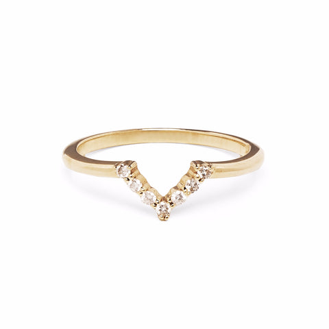 MINI CHEVRON RING | 14K GOLD & WHITE DIAMONDS