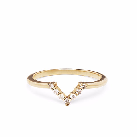 READY TO SHIP | MINI CHEVRON RING | 14K GOLD & WHITE DIAMONDS