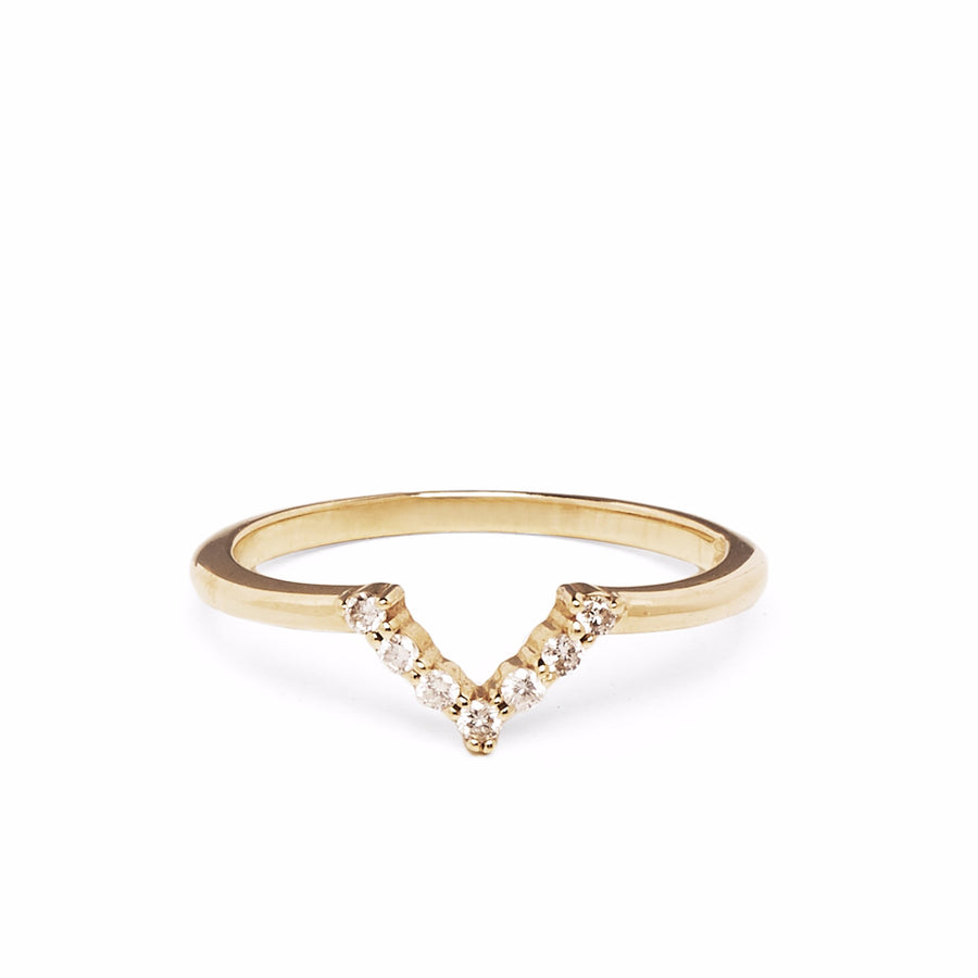 IN STOCK | MINI CHEVRON RING | 14K YELLOW GOLD & WHITE DIAMONDS
