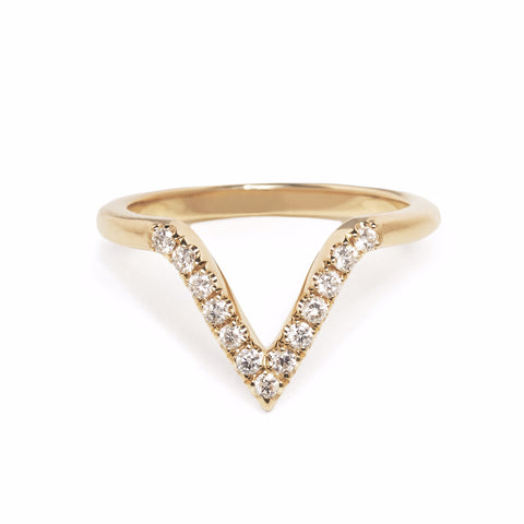 DEEP V CHEVRON BAND | 14K GOLD & DIAMOND