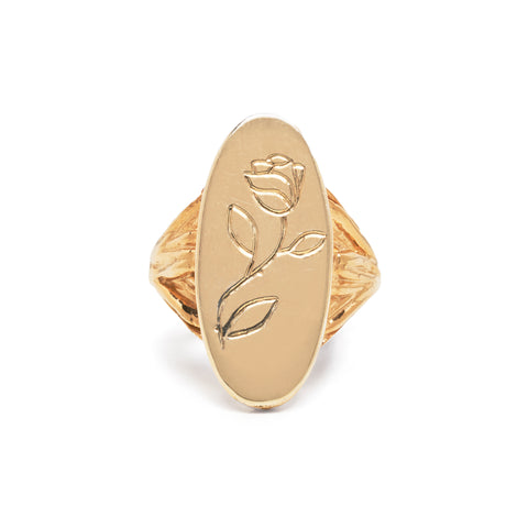 NEW | ROOTS SIGNET WITH ROSE ENGRAVING RING | GOLD VERMEIL