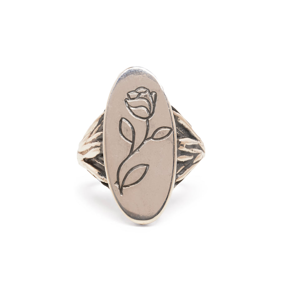 READY TO SHIP | ROOTS SIGNET RING WITH ROSE ENGRAVING | SILVER