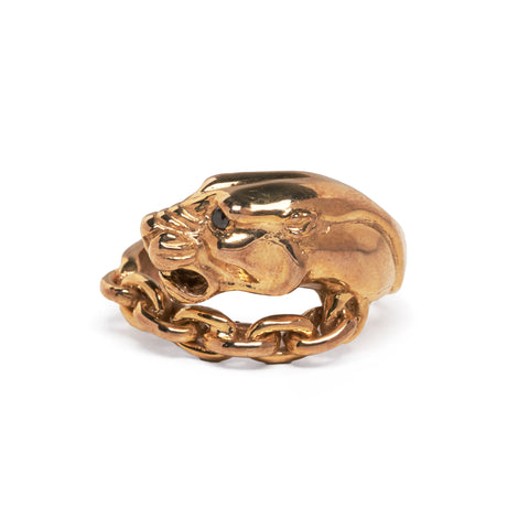 VINTAGE PANTHER IN CHAINS RING | GOLD VERMEIL & BLACK DIAMOND
